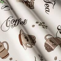 Декоративная ткань для штор покрывал и подушек с бурыми зернами кофе и кружками Турция 7193v9