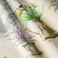 Декоративная ткань для штор чехлов подушек венецианские горшки с растениями голубого цвета Турция 141000v1