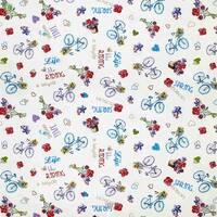 Декоративная ткань для штор с сердечками голубыми велосипедами и цветами Италия 400291v1