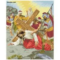 """Канва для вишивання бісером """"Ісус вдруге падає під тягарем хреста (Хресна дорога 7)"""""""