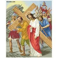 """Канва для вишивання бісером """"Симон з Киринеї допомагає Ісусові нести хрест (Хресна дорога 5)"""""""