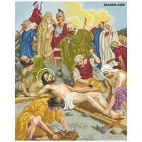 """Канва для вишивання бісером """"Ісуса прибивають до хреста (Хресна дорога 11)"""""""
