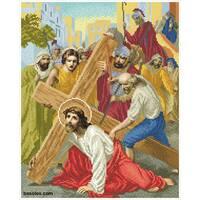 """Канва для вишивання бісером """"Ісус падає перший раз під тягарем хрестом (Хресна дорога 3)"""""""