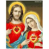 """Канва для вишивання бісером """"Відкриті серця Ісуса і Марії-1"""""""