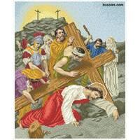 """Канва для вишивання бісером """"Ісус падає третій раз під тягарем хреста (Хресна дорога 9)"""""""