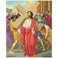 """Канва для вишивання бісером """"Ісус бере на себе хрест (Хресна дорога 2)"""""""