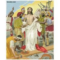 """Канва для вишивання бісером """"З Ісуса здирають одяг(Хресна дорога 10)"""""""