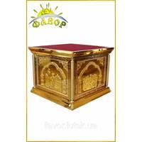 Престол 130х130 см, чеканка, литые иконы