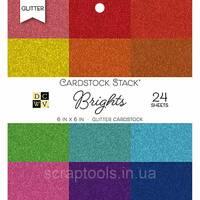 Набір глиттерной паперу DCWV 15х15см Brights Glitter Solid