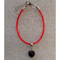 Червона нитка оберіг натуральний камінь Агат чорний 10 мм