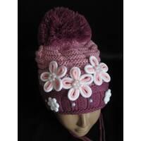 Купить оптом двойные вязанные шапки для девочек.