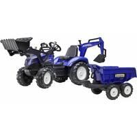 Трактор детский на педалях с прицепом, передним и задним ковшами Falk 3090w NEW HOLLAND (цвет - синей)