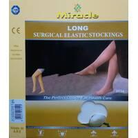 Компрессионные чулки 2 класс компрессии, Miracle до бедра, беж, открытый носок, без мыска. XL