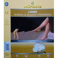 Компрессионные чулки 2 класс компрессии, Miracle до бедра, беж, открытый носок, без мыска. M