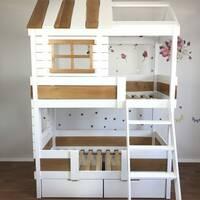 Двохярусне дерев'яне ліжко Будиночок