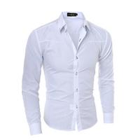 Стильна чоловіча приталена сорочка у британксом стилі довгий рукав біла код 1 L
