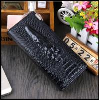 Декорований жіночий гаманець з шкіри з 3d Чорний зображенням крокодила