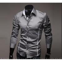 Сорочка довгий рукав приталена M, L, XL, XXL сіра з декорованими швами