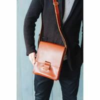 Мужская кожаная сумка-мессенджер Esquire светло-коричневая