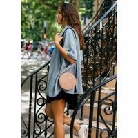 Круглая женская кожаная сумочка Tablet светло-бежевая