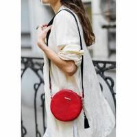 Круглая кожаная женская сумочка Tablet красная