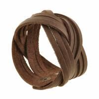 Шкіряний браслет кіска темно-коричневий