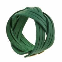 Шкіряний браслет кіска зелений