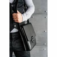 Мужская кожаная сумка-мессенджер Esquire черная