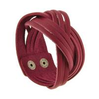 Жіночий шкіряний браслет кіска бордовий