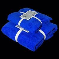 """Подарочный набор из двух махровых полотенец (баня и лицо)""""Синий"""""""