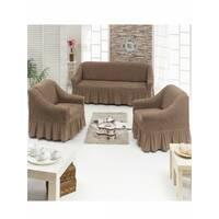 "Чехол на диван+2 кресла (Макси размер) ТМ"" Kayra"".Турция. -капучино"