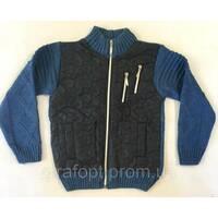 Вязанная кофта синего цвета 6-10 лет