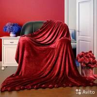 Велюровый плед покрывало с помпонами евро 200х230 см   Красный