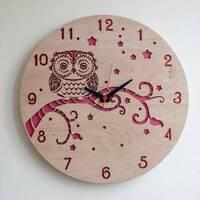 Круглые концептуальные часы из дерева «Совушка»