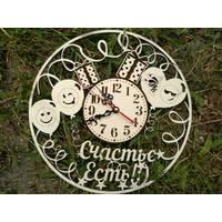 """Часы настенные из дерева резные """"Счастье есть"""""""