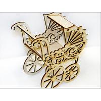 Іграшка Ажурна коляска з дерева різьблена