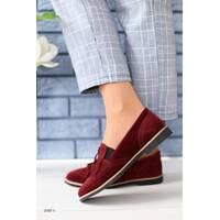 Женские замшевые туфли с кисточкой, бордо 40