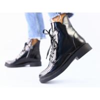 Женские зимние ботинки черные, кожа наплак, 36