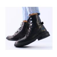 Женские демисезонные черные кожаные ботинки 37