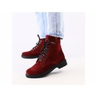 Женские замшевые ботинки деми, цвета бордо 37