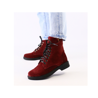Женские замшевые ботинки деми, цвета бордо 36