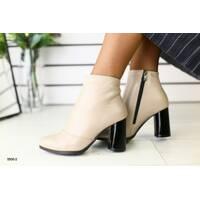 Женские демисезонные кожаные ботинки на каблуке, бежевые 36