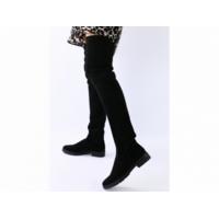 Демисезонные черные замшевые сапоги-чулки 39