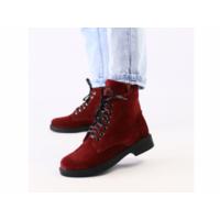 Женские замшевые ботинки деми, цвета бордо 40