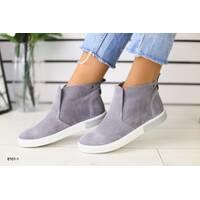 Женские демисезонные ботинки замшевые серый 41