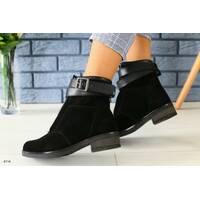 Женские зимние черные замшевые ботинки 39