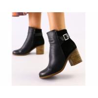 Женские черные ботинки кожа и велюр 36