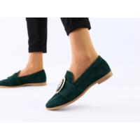 Замшевые туфли без каблука, изумрудные, 36