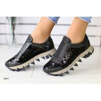 Женские черные кожаные кроссовки с пайетками 40