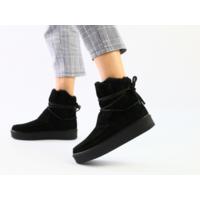 Женские черные угги со шнуровкой, 36